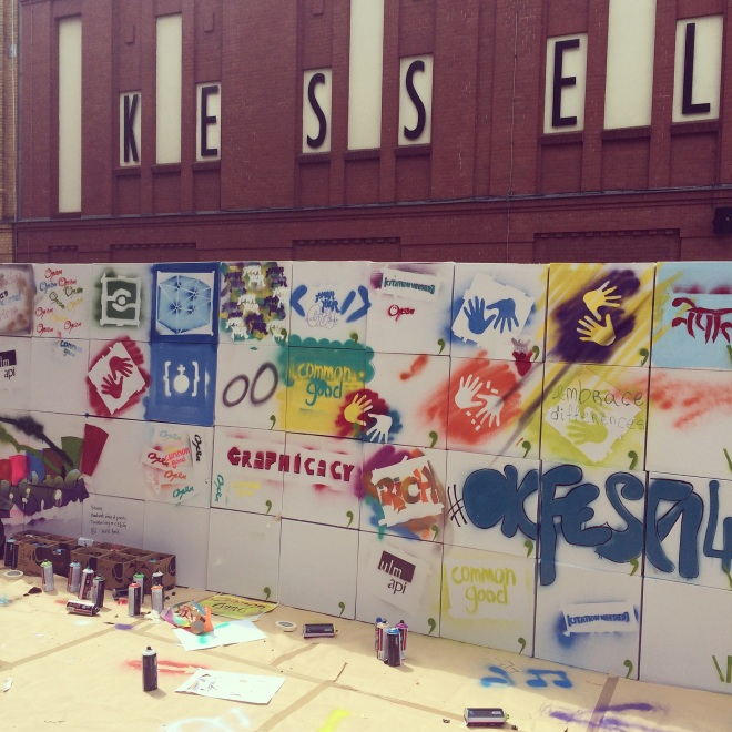 The graffiti wall at this year's OKFestival. Image credit: author's own.