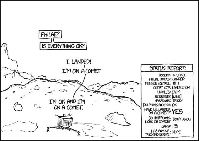 Landed! Image credit: xkcd - see the entire gallery here: http://xkcd1446.org/#142